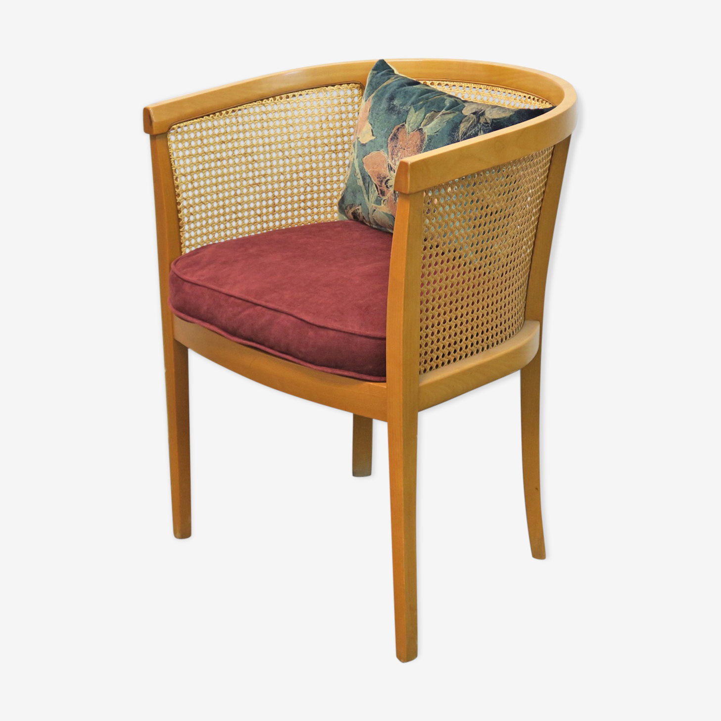 Armchair convertible in caning