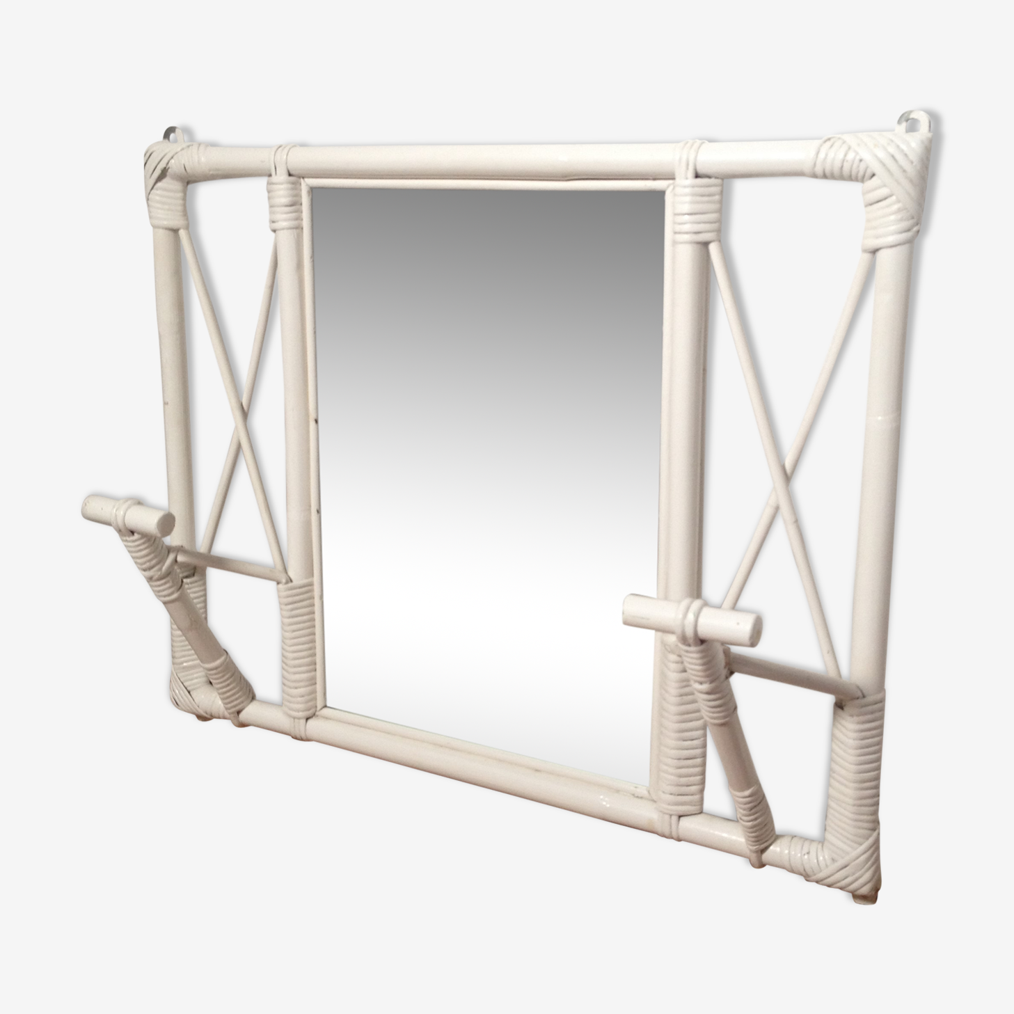 Coat rack white rattan mirror