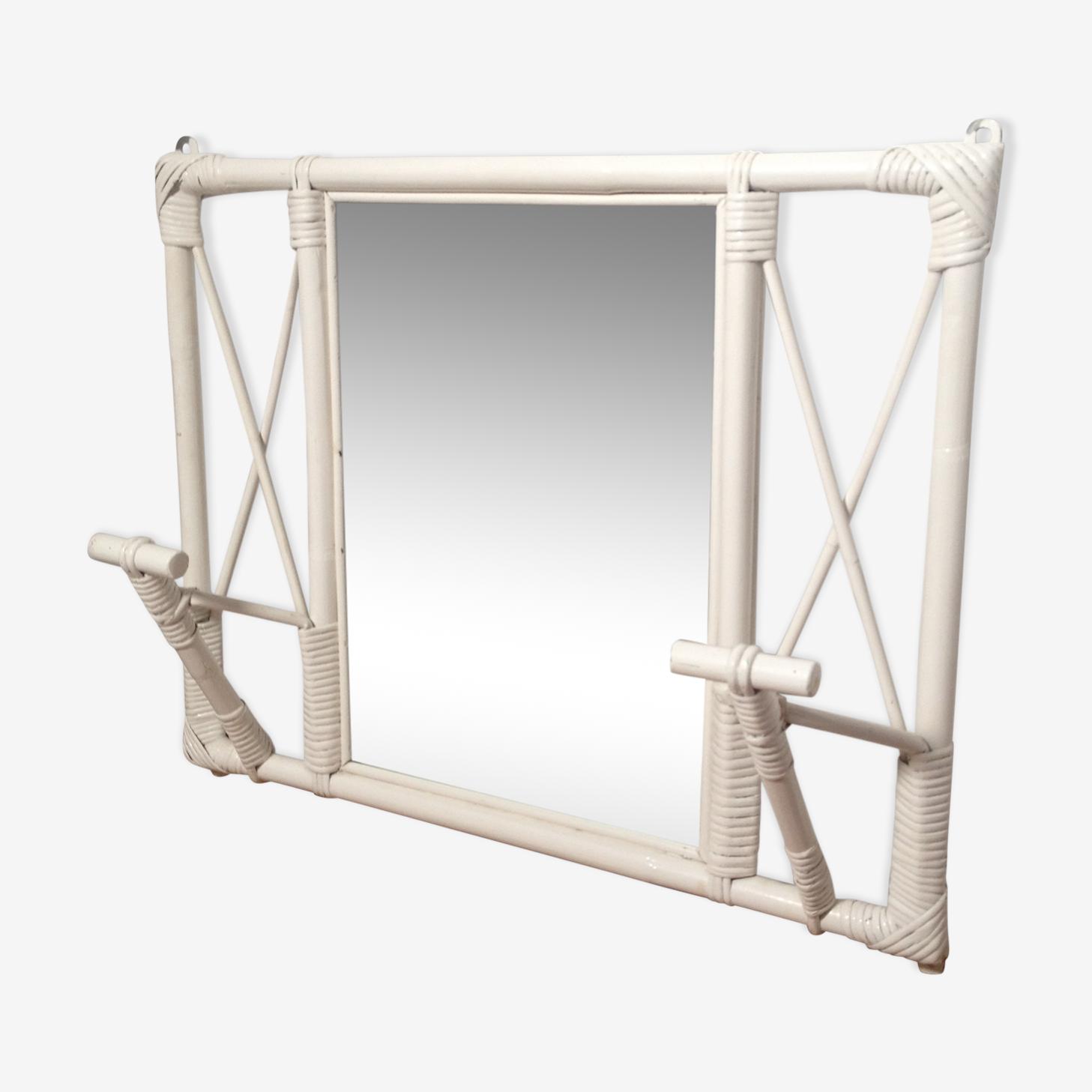 Portemanteau miroir en rotin blanc
