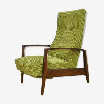 Corduroy armchair with folding footrest, 1960s