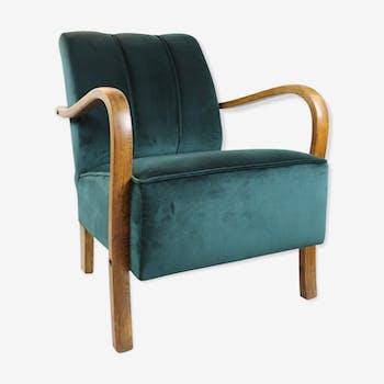 Art Deco Vintage Green Velvet Armchair