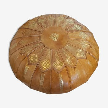 Pouf marocain jaune