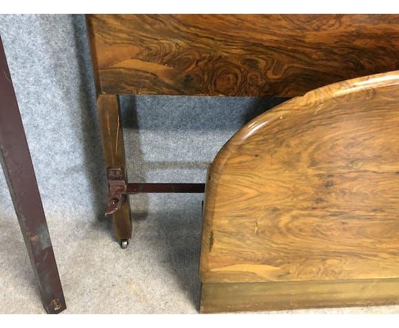 English Art Deco walnut bed