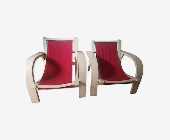 Paire de fauteuils bois