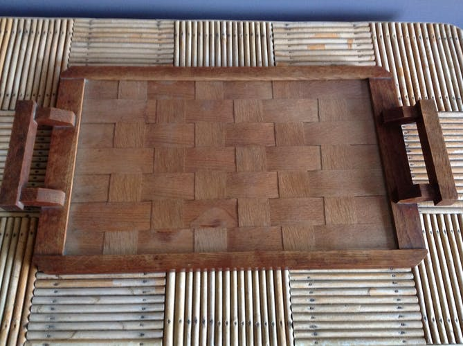 Woven wooden tray
