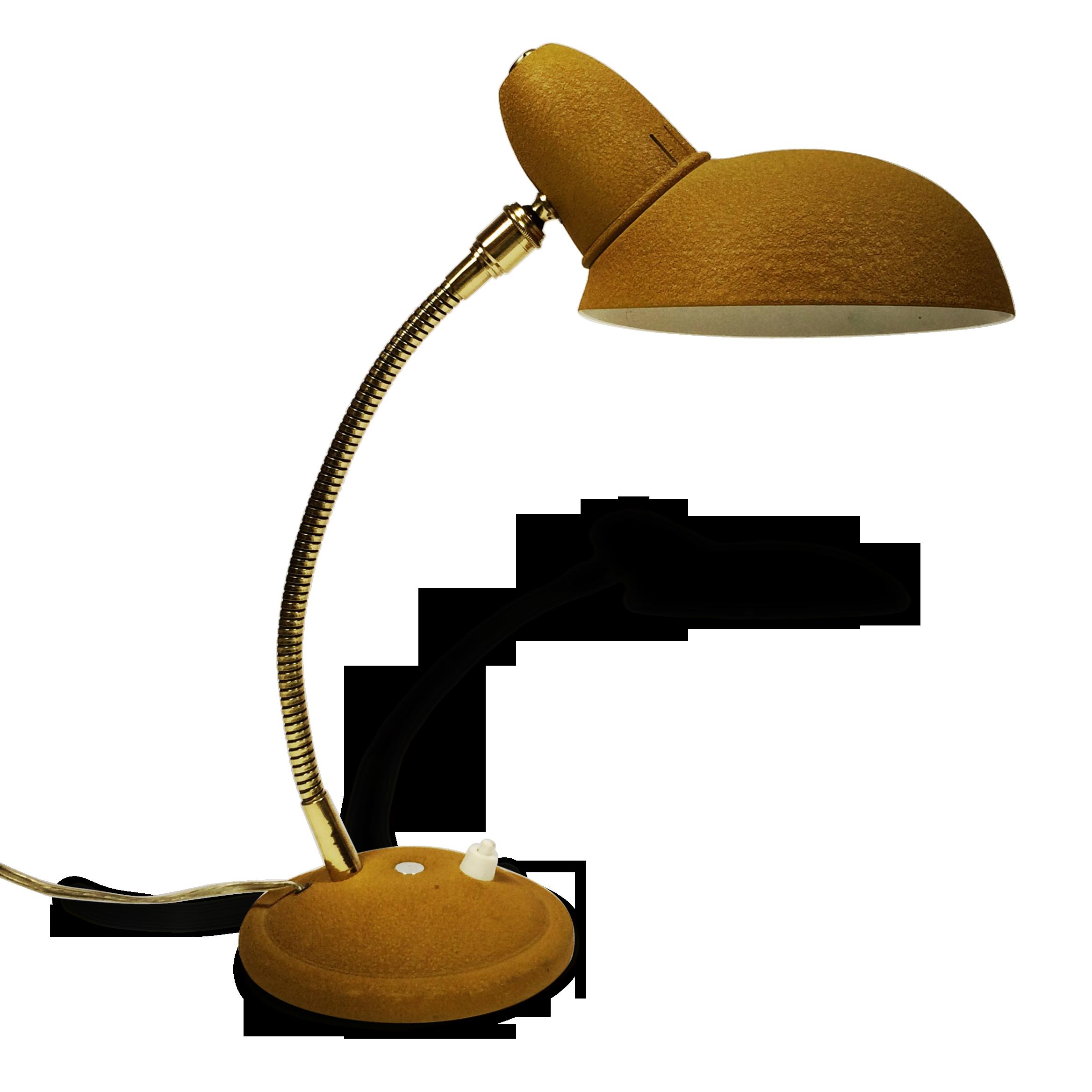 Lampe de bureau jaune moutarde métal jaune vintage