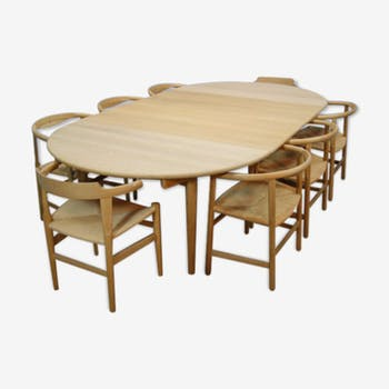 Table & 6 chairs by Hans J Wegner for Carl Hansen