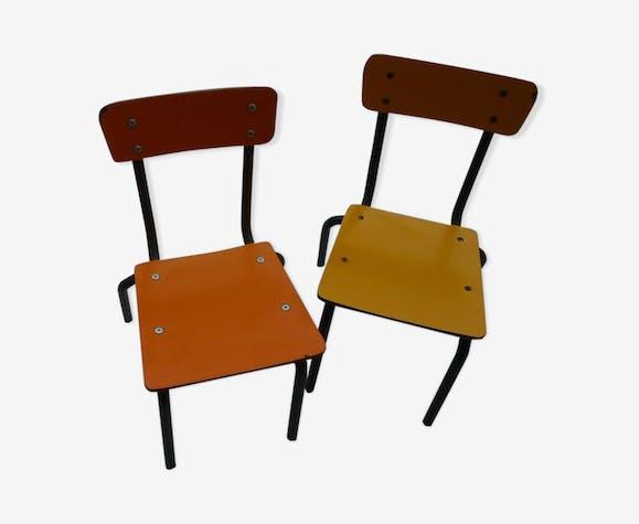 Paire de petites chaise enfant jaune et orange vintage 80s
