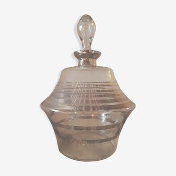 Ancienne carafe à liqueur verre soufflé, fil d'argent