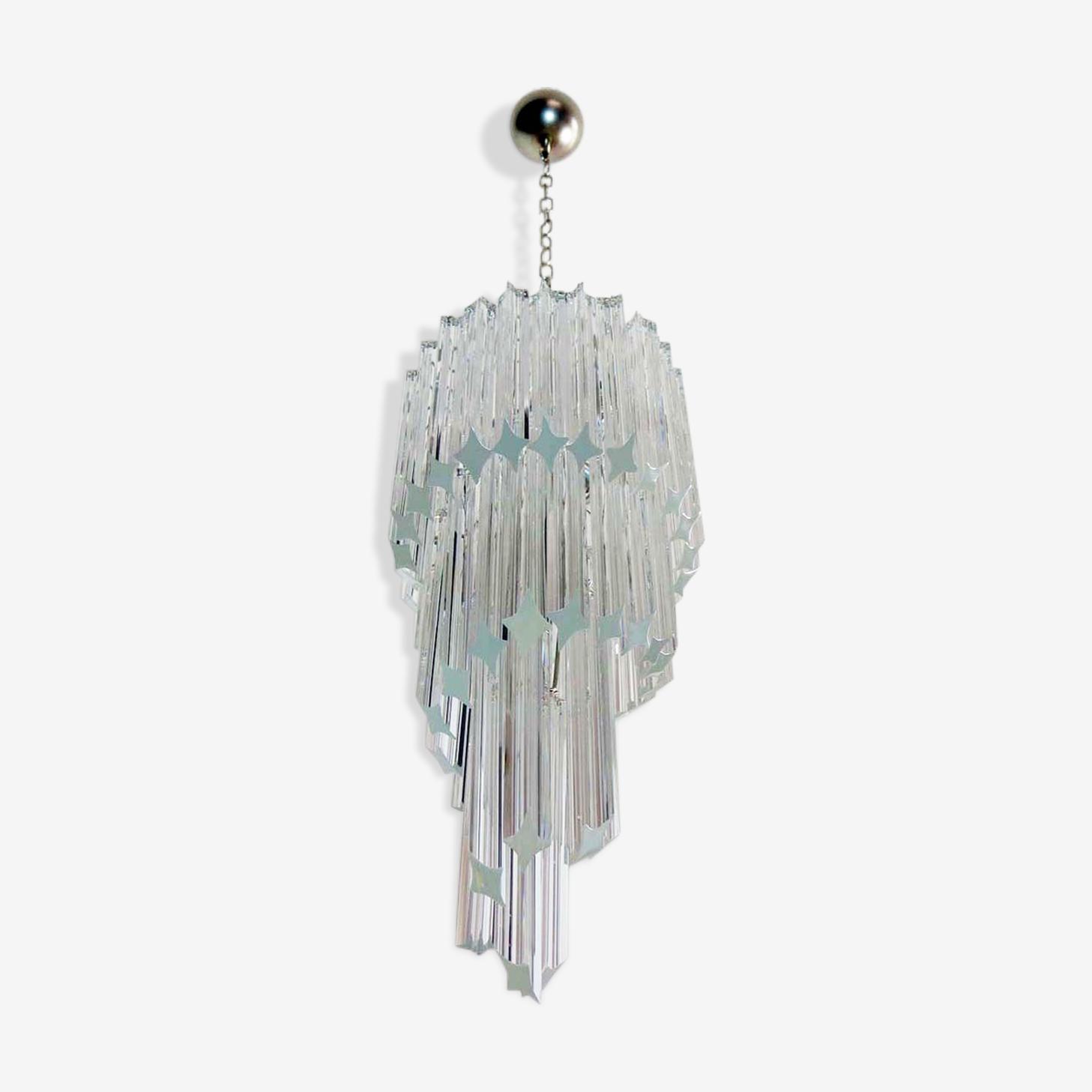 Venini spiral chandelier in Murano crystal 1970