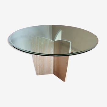 Round table 6 pers ARTELANO Marble travertine beveled glass Italy
