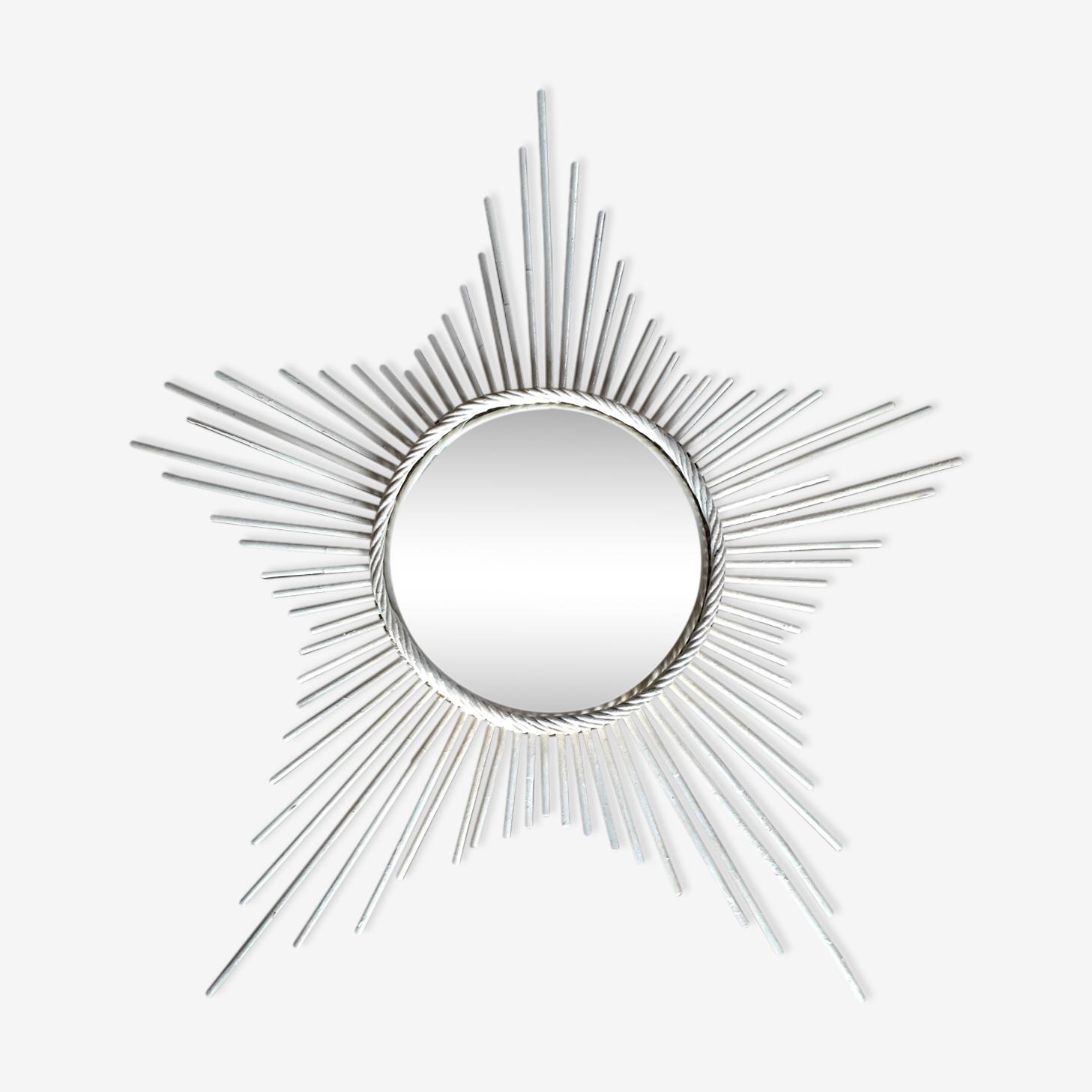 Miroir soleil vintage en rotin tressé 70 cm