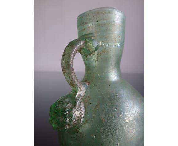 Ancien vase à hanse en verre irisé balsamaire Gallo romain