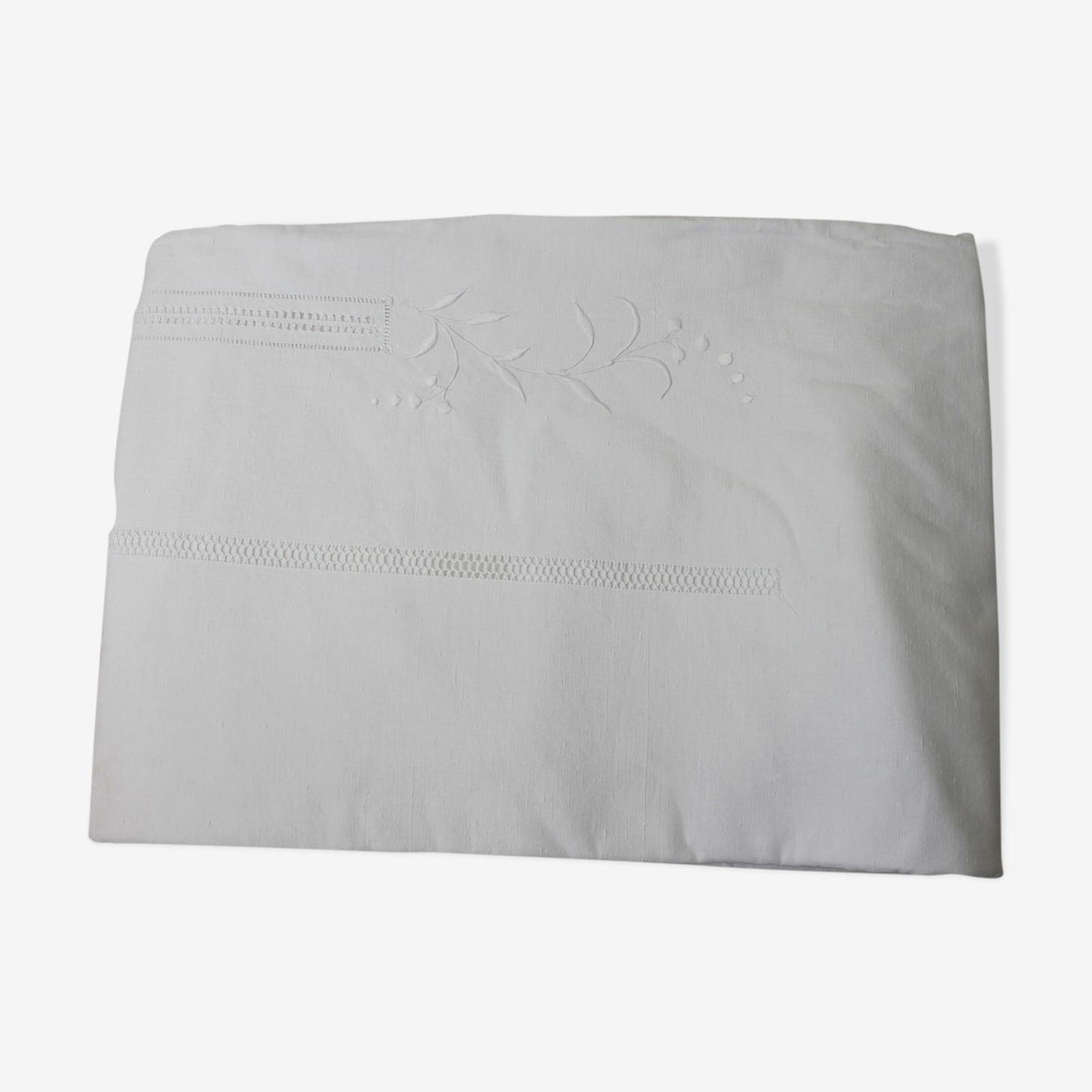 Drap ancien blanc coton