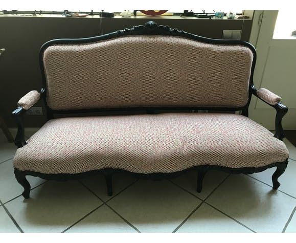 Sofa bench Louis Philippe Napoleon III, redesigned Nobilis fabric, country style