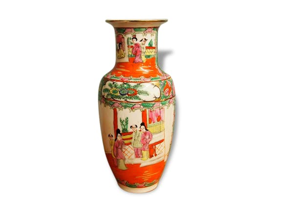vase chinois en fa ence 1950 sign c ramique porcelaine fa ence classique 58914. Black Bedroom Furniture Sets. Home Design Ideas