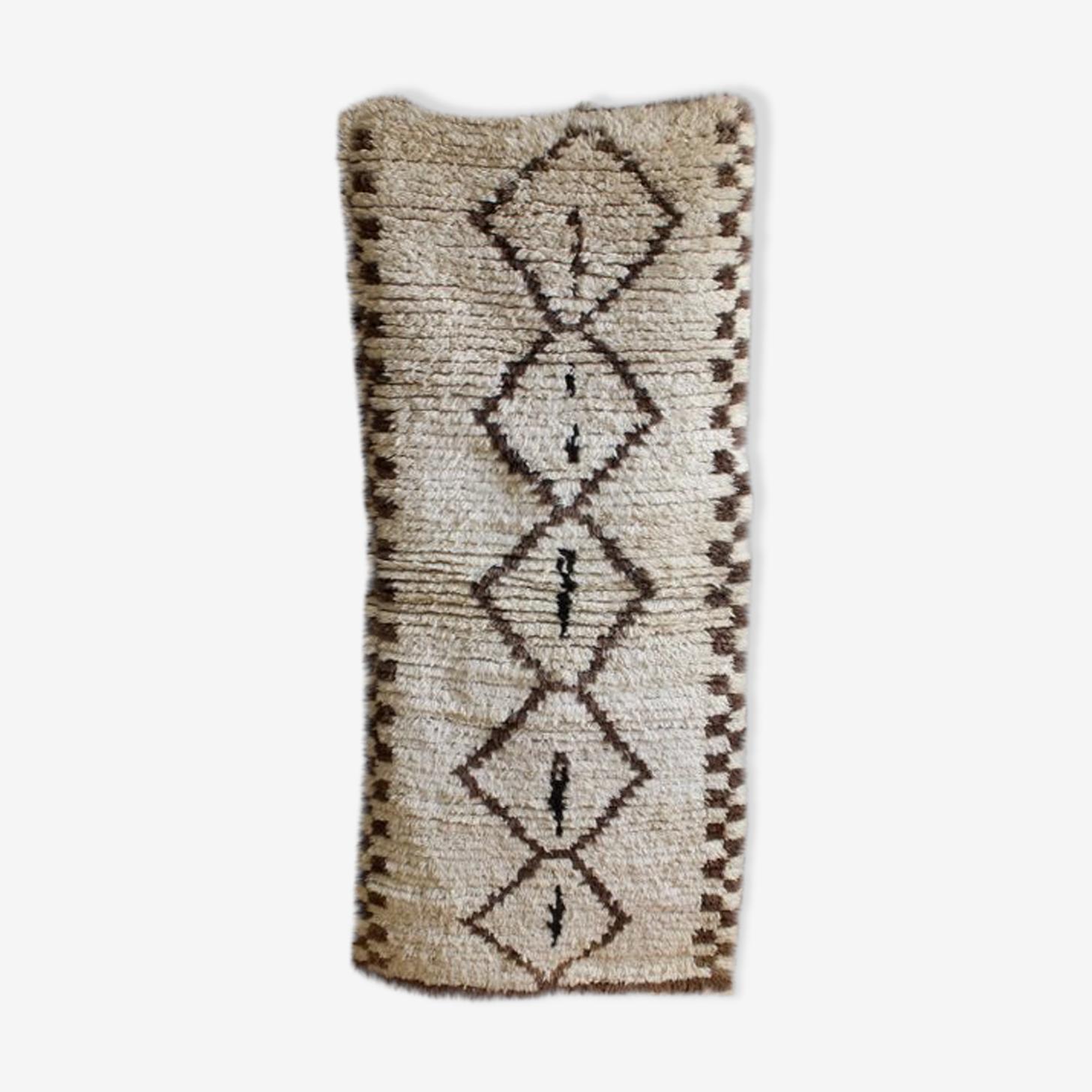 Tapis béni ouarain ancien tissé main au Maroc 147 x 80 cm