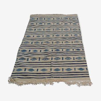Traditional beige and blue handmade kilim rug - 195x115cm