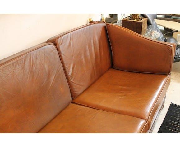 Canapé en cuir cognac