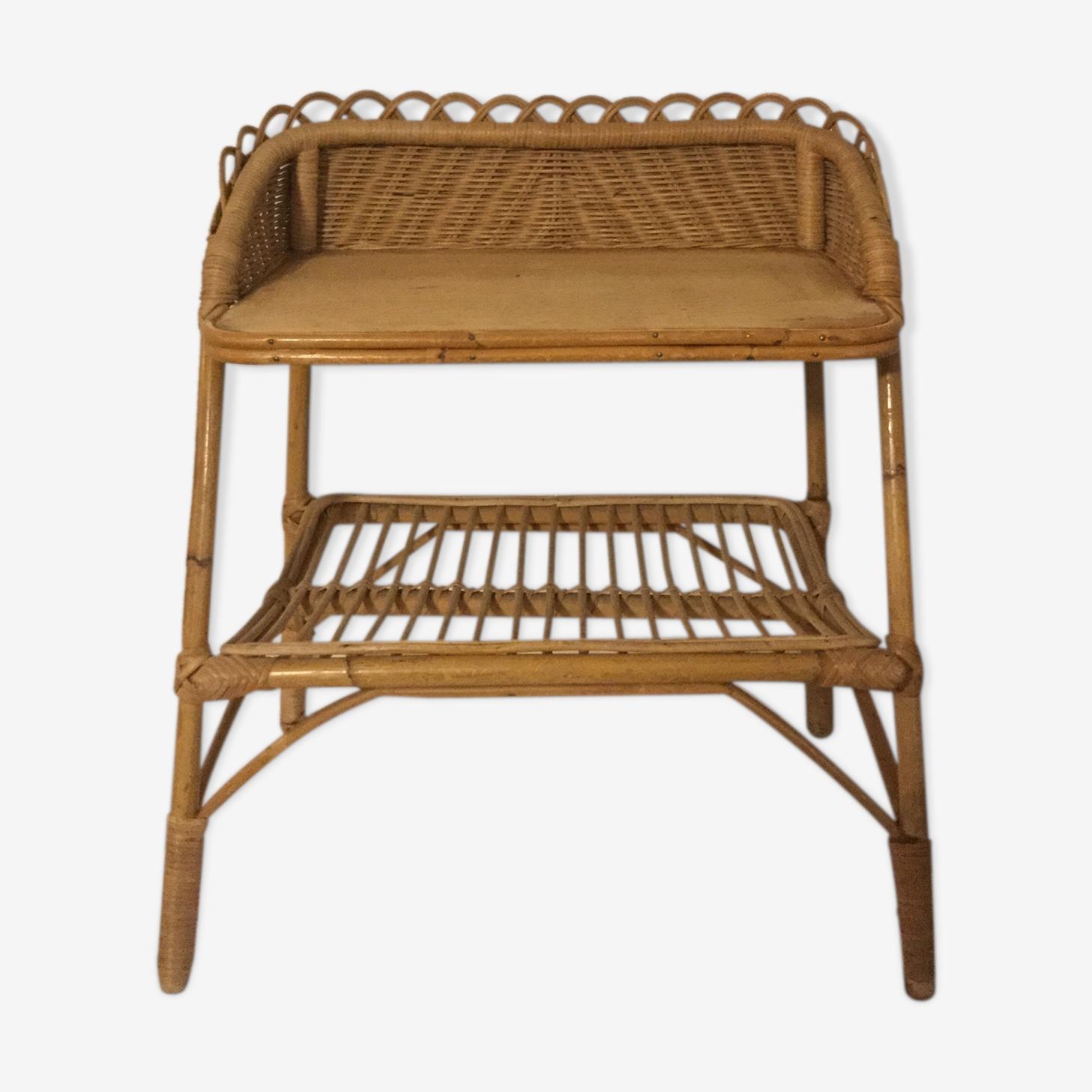 Vintage rattan bedside table.
