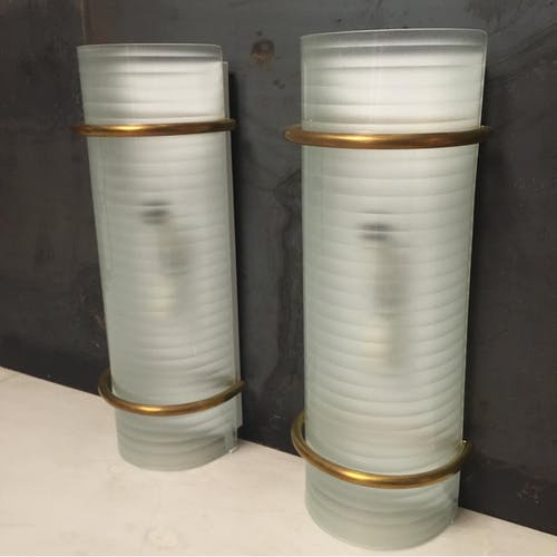Set of Two brass Sconces, Vintage Italian lamps from 1960s