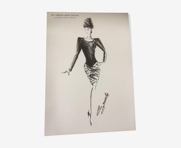 Illustration de mode de presse par Guy Laroche- époque  collection automne - hiver 1988_/1989