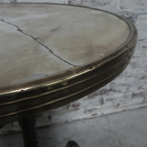 Bistro table with cast iron leg