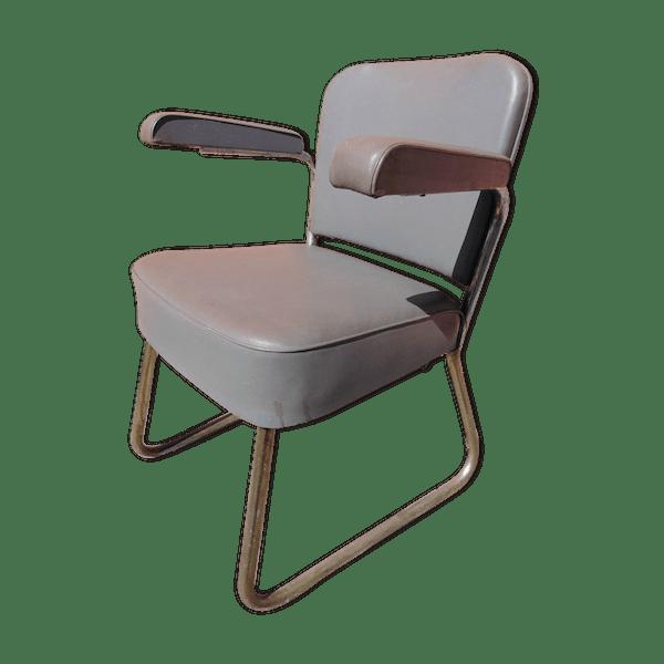 Bon État Skaï Industriel 5q39ykt De Gris Bureau 1960 Chaise wv8OnmN0