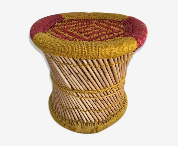 Indian Stool Style Bohemian Bamboo Natural And Sitting In Two Tone