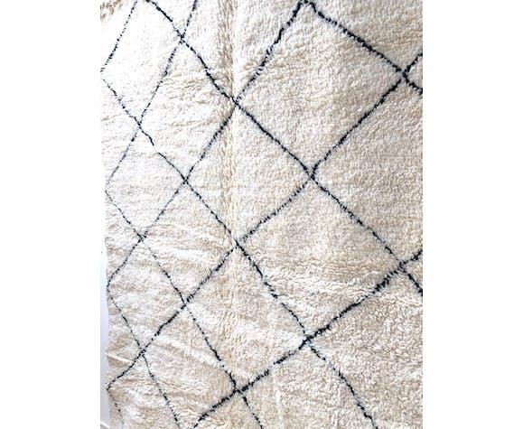 Tapis berbère marocain beni ouarain à losanges noirs 296x206cm