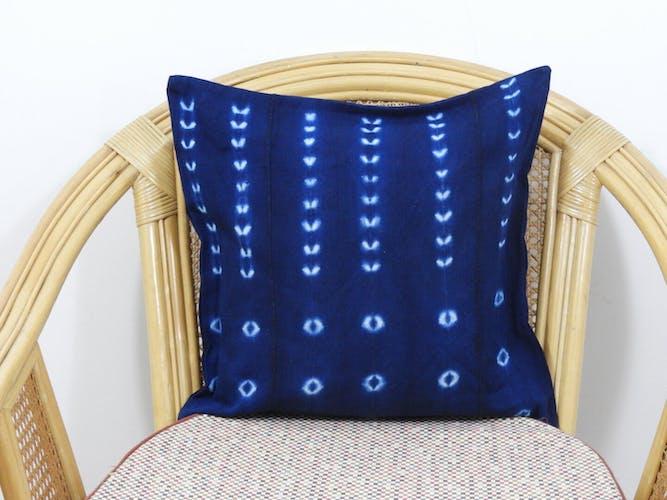 Indigo vintage tie and dye cushion