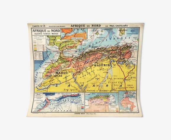 Map N 18 J Brunhes North Africa Paper Multicolour Vintage