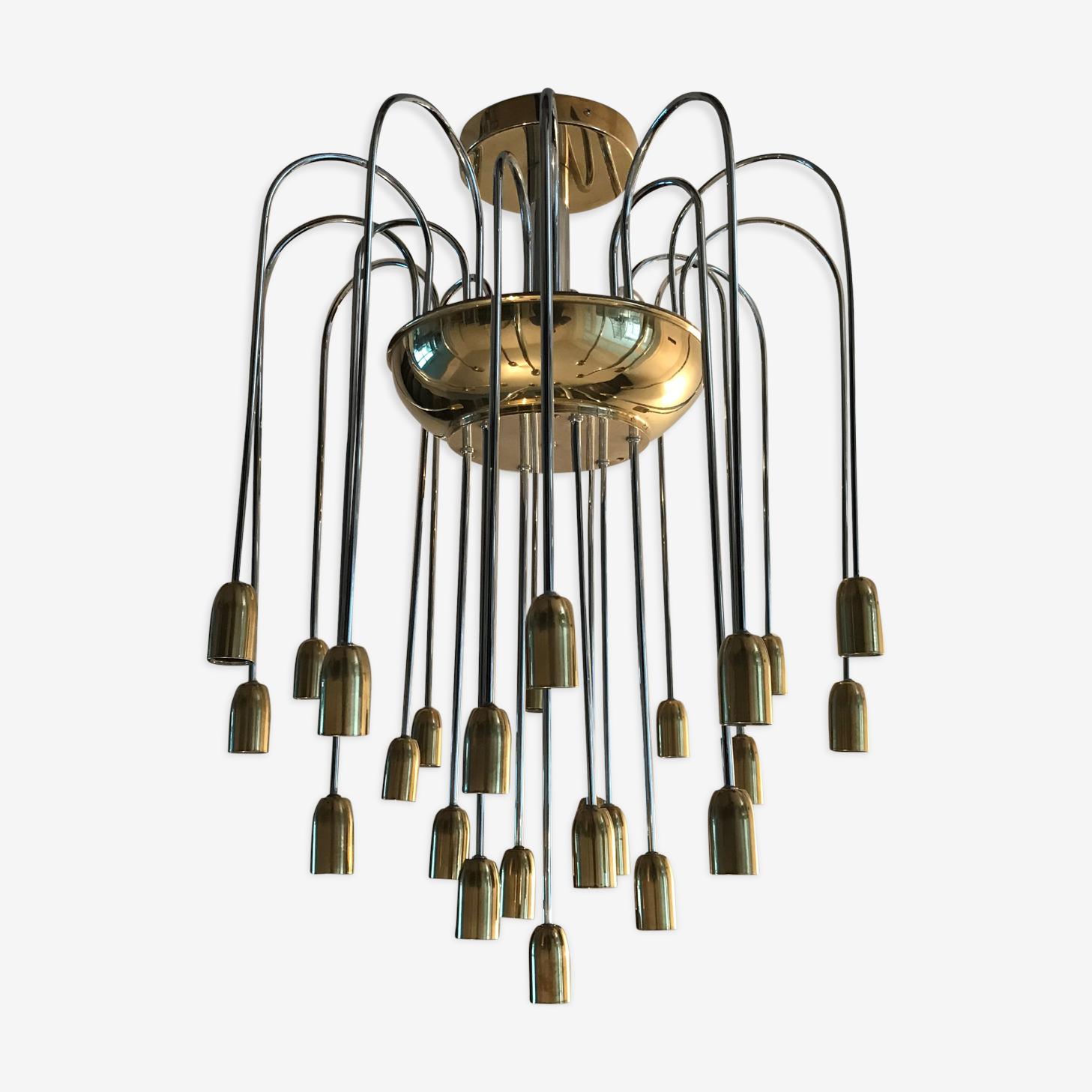 Rare German Kaiser lights 60s cascade chandelier
