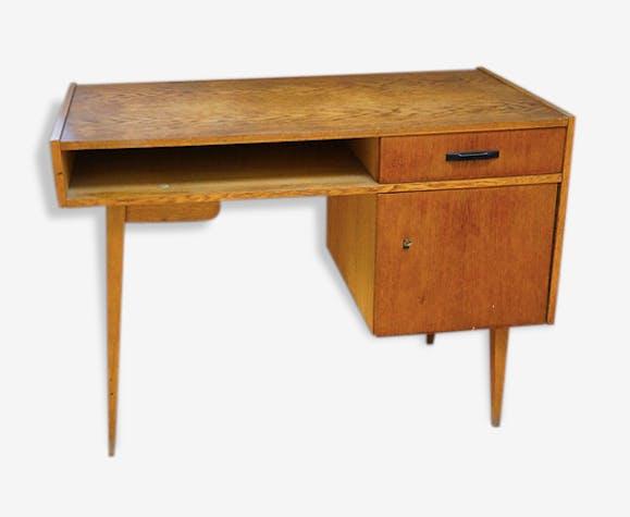Grand bureau bois scandinave vintage bois matériau scandinave