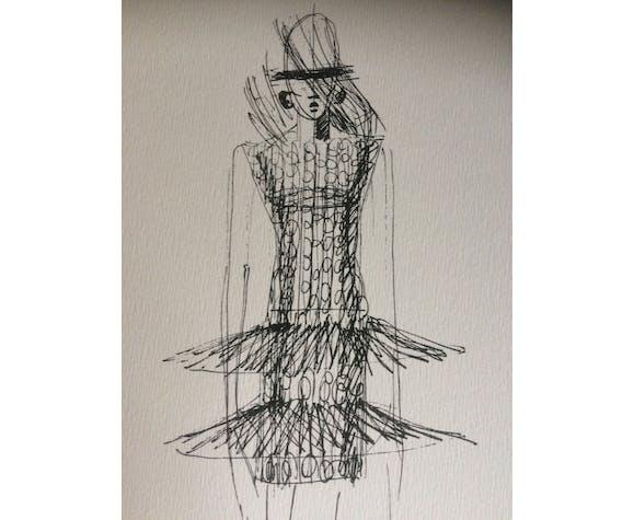 """Esquisse de mode Paco Rabanne """"collection hiver 1997 -1998"""""""