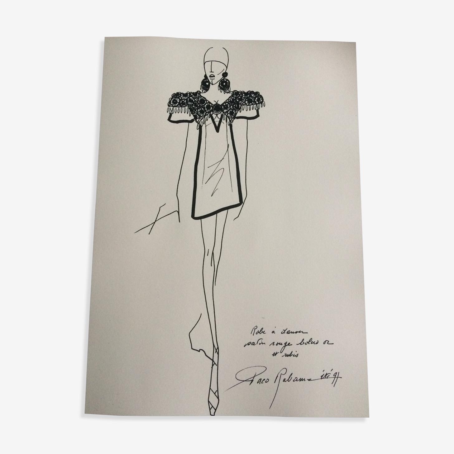 Illustration de mode par Paco Rabanne années 90