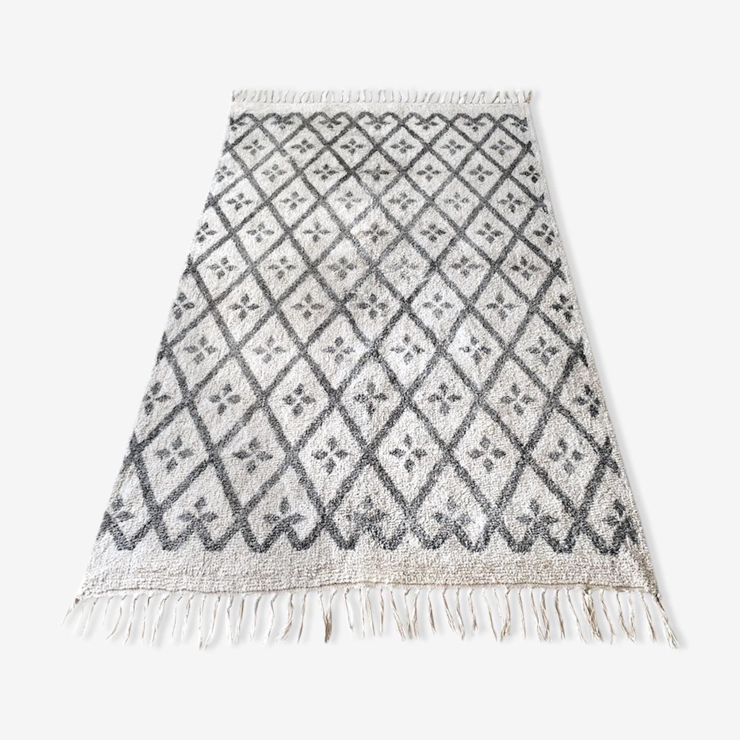 Tapis berbère en coton 120 x 160 cm blanc cassé et gris