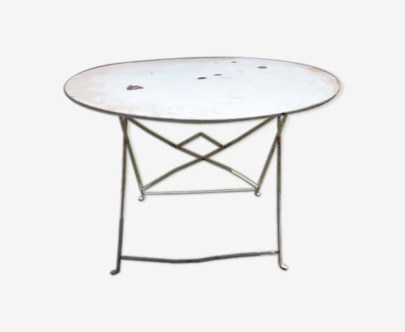 Table de jardin pliante ancienne - métal - blanc - classique - aVpHAOq
