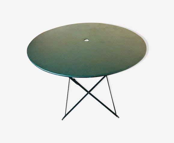 Table pliante verte diamètre 120 cm - métal - vert - vintage - ffXLK5A