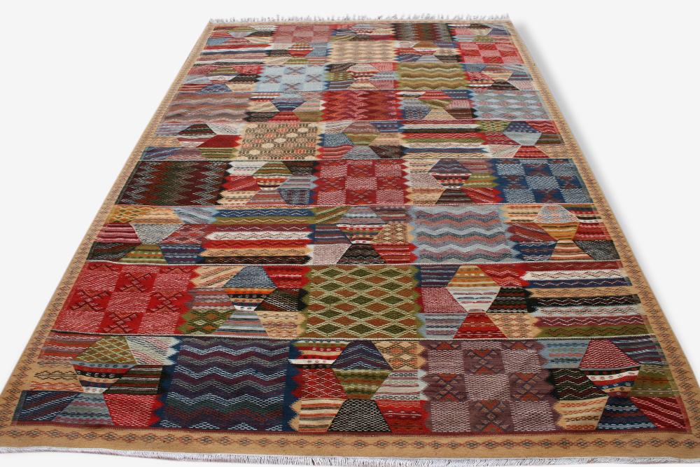 "Tapis kilim marocain ""Palais"", 3x2m, tapis berbère, mosaique patchwork design, tapis oriental, moroccan rug, kelim teppich"
