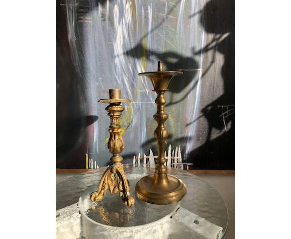 Duo de bougeoirs en bronze anciens