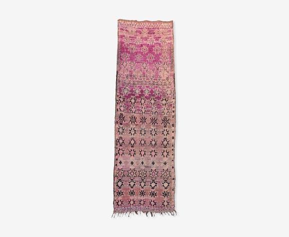 Azilal Tapis Marocain Couloir 95 X 303 Cm Woolcotton Pink