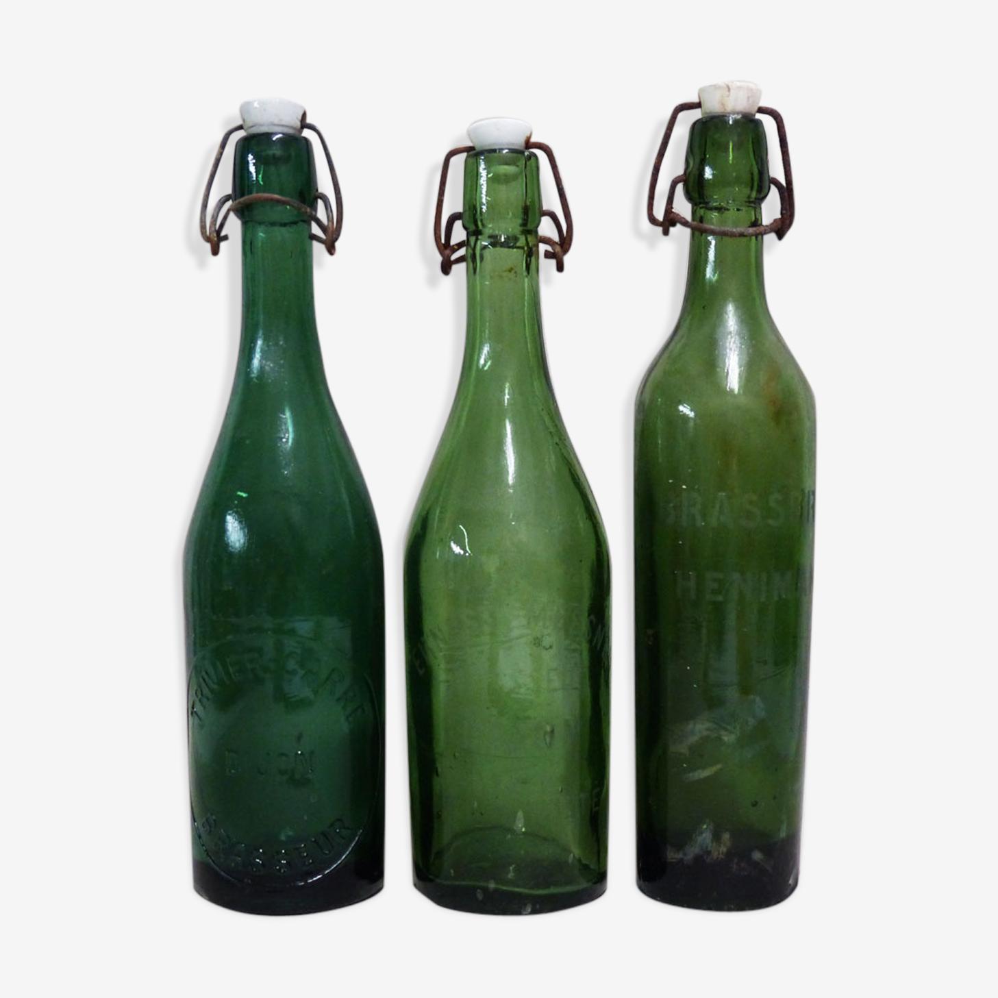 3 bouteilles anciennes de brasseries de Dijon