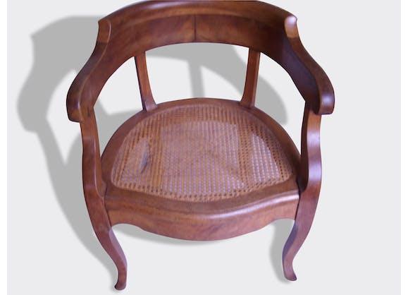 fauteuil ancien noyer massif bois mat riau marron dans son jus vintage 5832. Black Bedroom Furniture Sets. Home Design Ideas