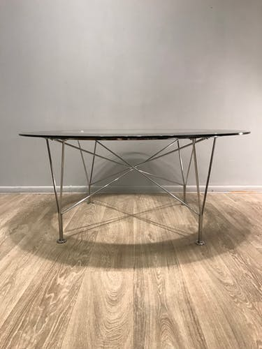Table basse en verre de métal des années 70 Suède