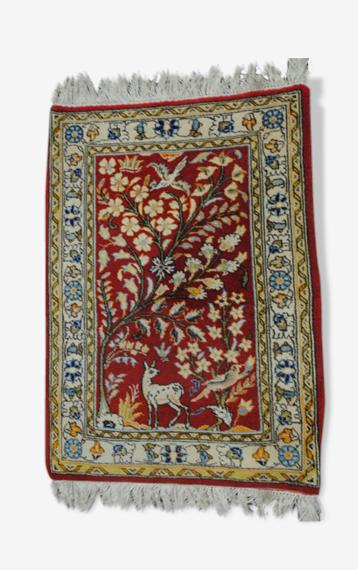 Petit tapis persan authentique motif arbre de vie, 58x78