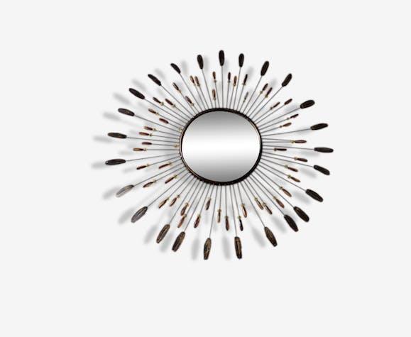 Grand miroir soleil en m tal perles et plumes m tal 1950 for Miroir plume