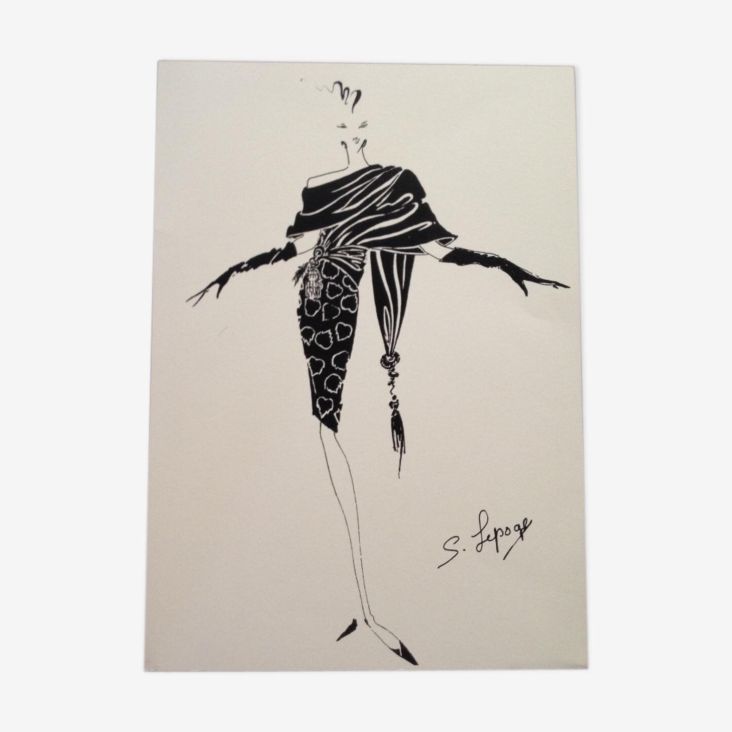 Illustration de mode de presse par Serge Lepage, années 80