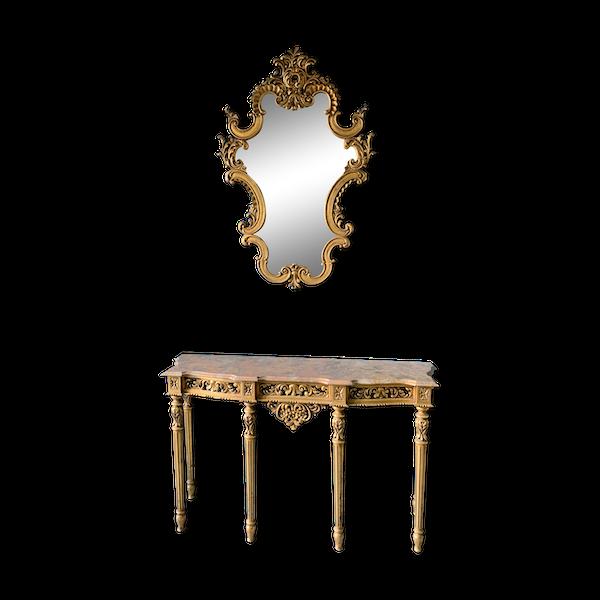 Ensemble console dorée et miroir baroque