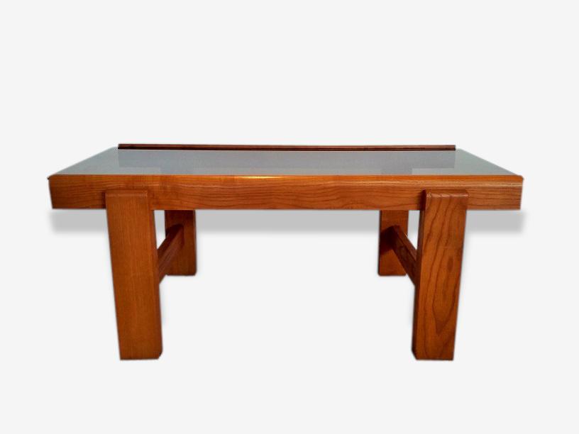 Grande table basse bois massif et verre fumé